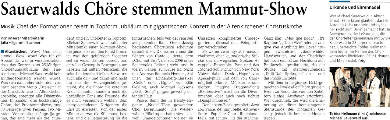 mit freundlicher Genehmigung der Rhein-Zeitung, Ausgabe Altenkirchen-Betzdorf vom 15.09.2015, Seite 13