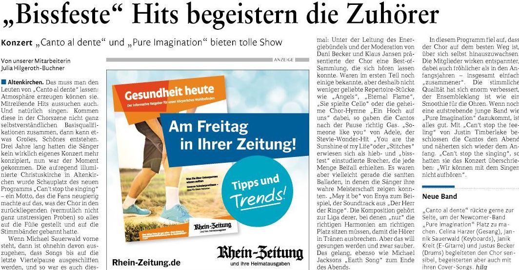 mit freundlicher Genehmigung der Rhein-Zeitung, Ausgabe Altenkirchen-Betzdorf vom 25.09.2017, Seite 17